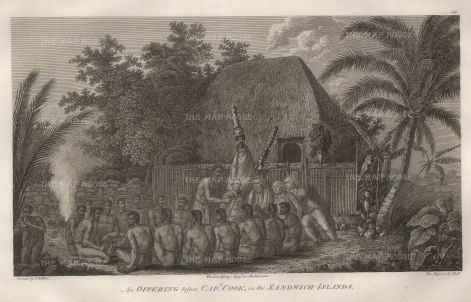 Cook's Voyages: Kealakekua Bay, Hawaii. 1784. An original antique copper-engraving. 15 x 10 inches. [USAp4775]