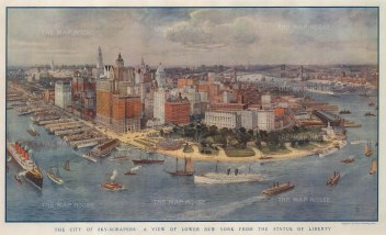 Panoramic view from the Statue of Liberty of Lower New York. After the American painter Richard Rummell..
