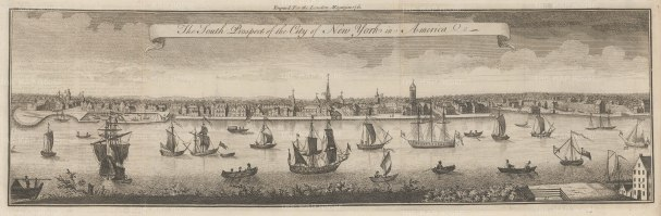 New York City: Rare Colonial Panorama from Brooklyn Heights. State Street to Catherine Street with the stockade at far right that would become Wall Street.After the four sheet engraving by William Burgis 1717, one of the earliest views of New York City.