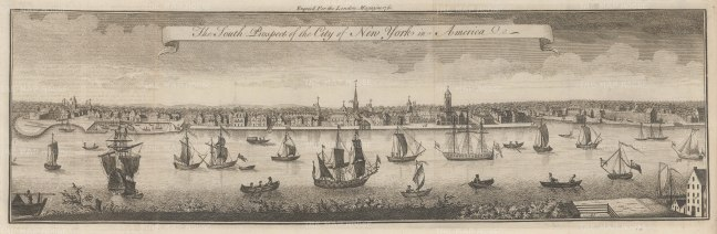 New York City: Rare Colonial Panorama from Brooklyn Heights. State Street to Catherine Street with the stockade at far right that would become Wall Street. After the four sheet engraving by William Burgis 1717, one of the earliest views of New York City.