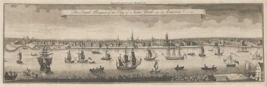 "London Magazine: New York City. 1761 An original antique copper engraving. 21"" x 7"". [USAp4846]"