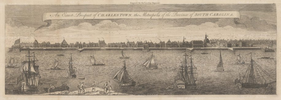 Charleston: Rare Colonial Panorama looking across the Cooper River from Granville Bastion to Craven's Bastion. After Bishop Roberts's 1749 view, the earliest known view of Charleston. With Key.
