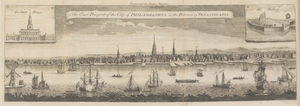 Philadelphia: Rare Colonial Panorama from present day South Street to Chestnut Street with vignettes of the Battery and the State house (Independence Hall). After Thomas Jeffry's modification of George Heap's 1754 4 sheet engraving commissioned by Thomas Penn.