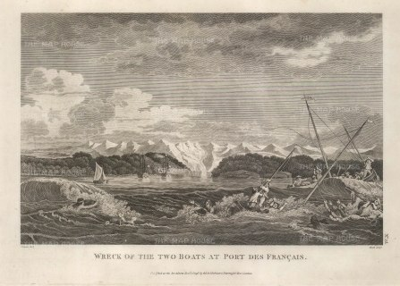 Port des Francais (Lituya Bay): Wreck of two rowboats from the La Perouse expedition which had capsized in the inlet.