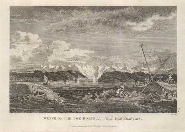 Port des Francais (Lituya Bay): Wreck of two rowboats from the La Perouse expedition which capsized in the inlet.