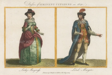 """Stafford: Mayor and Mayoress of London. 1807. A hand coloured original antique copper engraving. 7"""" x 5"""". [DECp1091]"""
