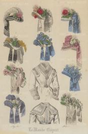 "Monde Elegant: Hats. 1871. A hand coloured original antique steel engraving. 7"" x 10"". [DECp1260]"