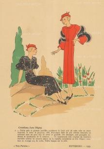 """Fashion Plate Pochoir: Tres Parisien. 1931. An original colour vintage woodcut. 7"""" x 10"""". [DECp1467]"""