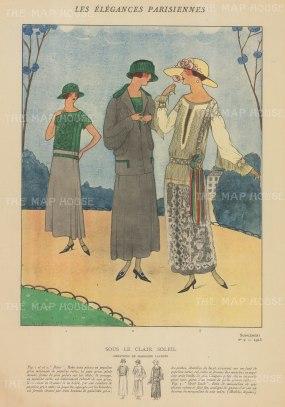 """Les Elegances Parisiennes: Sous le clair Soleil. c1920. An original colour vintage woodcut. 11"""" x 16"""". [DECp1468]"""
