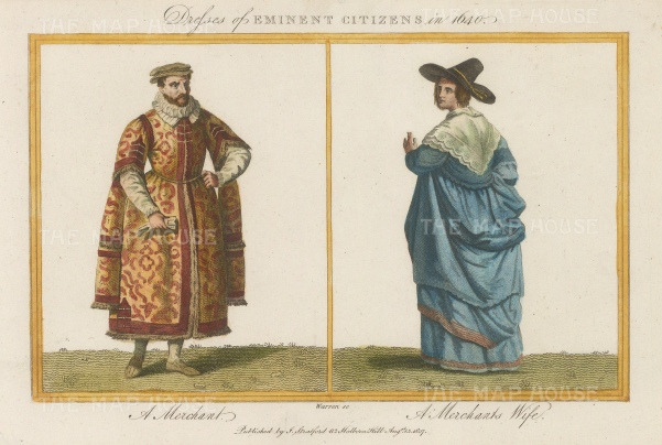 A Merchant in 1640 and a Merchant's Wife.
