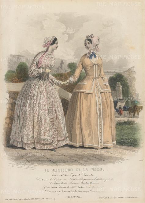 """Le Moniteur: Spring walking dresses and bonnets. c1870. An original colour antique steel engraving. 7"""" x 10"""". [DECp1939]"""