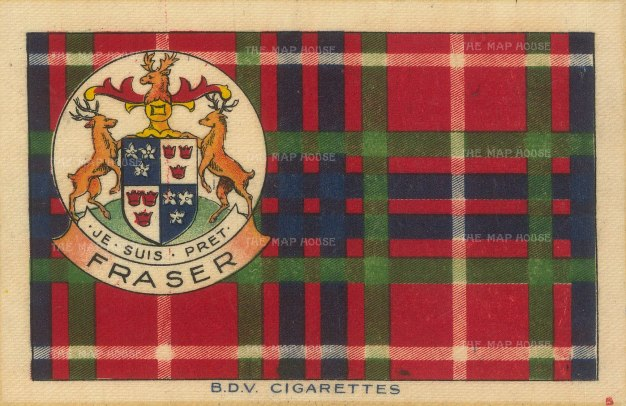 Fraser tartan with arms and motto 'Je Suis Pret'.