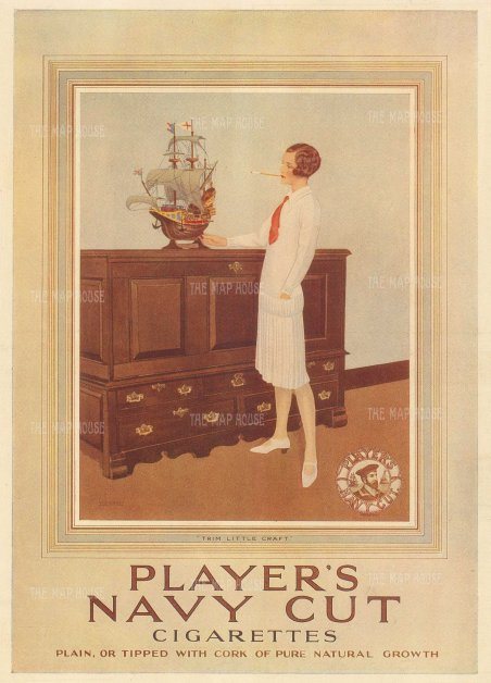 "Punch: Player's Navy Cut. 1928. An original vintage chromolithograph. 8"" x 10"". [DECp2071]"