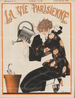 La Vie Parisienne: Fashionable girl watering a flower pot. Cover page after Rene Vincent.