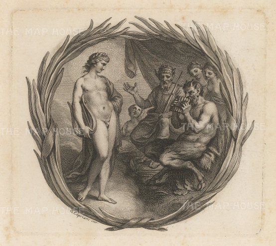 Apollo with a lyre and Pan with pipes in decorative frame.