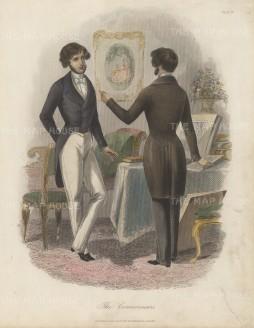 "Blacke & Son: Gentlemen Connoisseurs. c1860. A hand coloured original antique steel engraving. 8"" x 10"". [DECp862]"