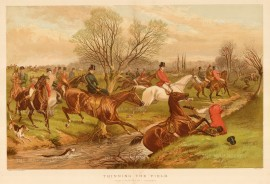 Fox Hunting:Thinning the Field. Field Crossing a stream with varied success.