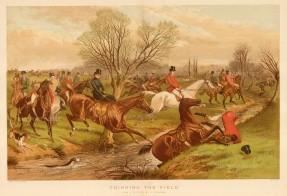 """Lieghton: Fox Hunting. 1888. An original antique chromolithograph. 17"""" x 13"""". [FIELDp1480]"""