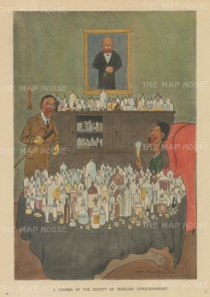 "Bateman: Member of the Society of Hopeless Hypochondriacs. c1930. A hand coloured original vintage lithograph. 7"" x 10"". [MISCp5559]"