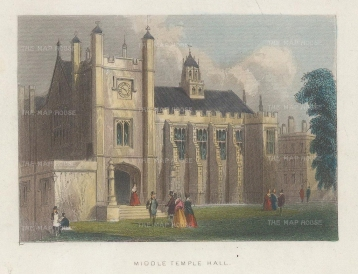 "Tallis: Middle Temple Hall. 1851. A hand coloured original antique wood engraving. 4"" x 3"". [LDNp10432]"