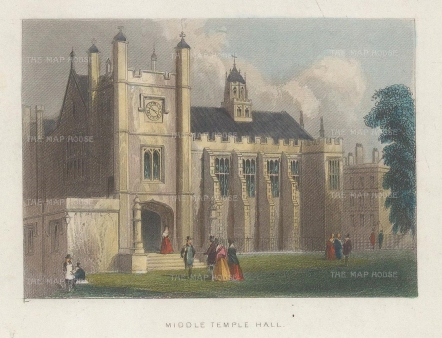 """Tallis: Middle Temple Hall. 1851. A hand coloured original antique wood engraving. 4"""" x 3"""". [LDNp10432]"""