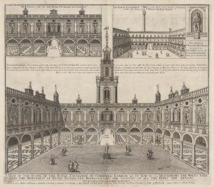 Three perspectives: The Interior, the North entrance and as it was when built by Sir Thomas Gresham in 1571.