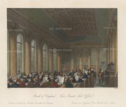 Shepard: Bank of England. 1841. A hand coloured original antique steel engraving. [LDNp5190]