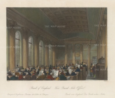 Bank of England. Five pound note office.
