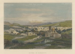 Damascus: View of the city and Barada river.