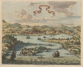 Gamron (Bander Abbas), Iran: Bird's eye of the city and the Straits of Hormuz.