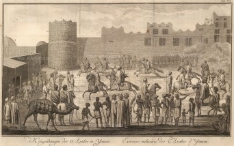 Yemen Cavalry: Military exercises of the native cavalry within a fort.