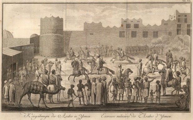 SOLD Yemen Cavalry: Military exercises of the native cavalry within a fort.