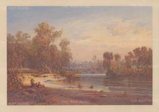Pilgerbad, Jordan. Pilgrims resting on the banks of the River Jordan.