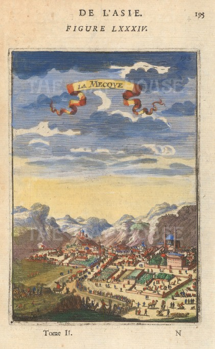 "Mallet: Mecca. 1683. A hand coloured original antique copper engraving. 4"" x 6"". [MEASTp1576]"