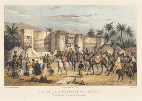 "Laborde: Aqaba. 1839. A hand coloured original antique lithograph. 18"" x 12"" [MEASTp1584]"