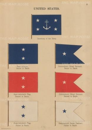 "Anonymous: USA Naval flags. 1899. An original antique chromolithograph. 7"" x 10"". [USAp4877]"