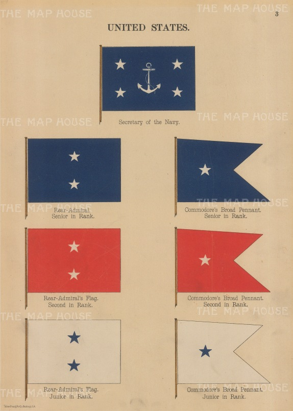 "Anonymous: USA Naval flags. 1899. An original antique chromolithograph. 7"" x 10"". [MISCp4265]"