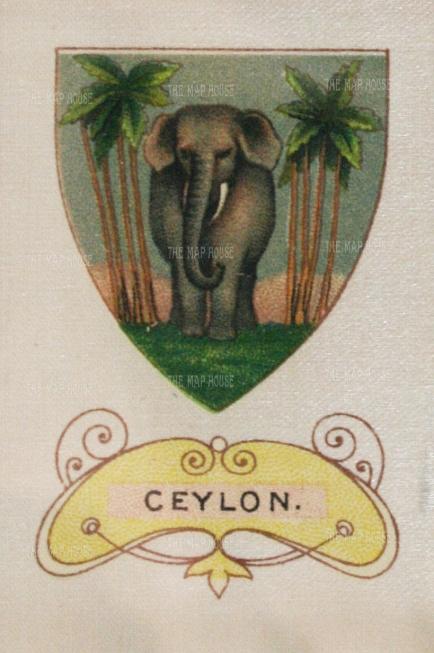 "Cigarette Cards: Arms of Ceylon. c1915. An original antique printed colour on silk. 2"" x 3"". [MISCp4707]"