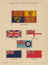 Ensigns: The Royal Standard, Union Jack, White Ensign, Royal Air Force Flag, Blue Ensign and Red Ensign.