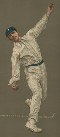 Wilfred Rhodes batting: The first Englishman to complete the double of 1,000 runs and 100 wickets in Test matches with world records for most appearances in first-class matches, and most wickets taken.