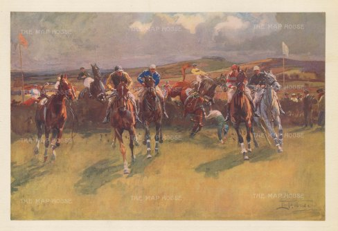 "Edwards: Hunt Steeplechase. 1937. An original vintage chromolithograph. 14"" x 9"". [SPORTSp3554]"