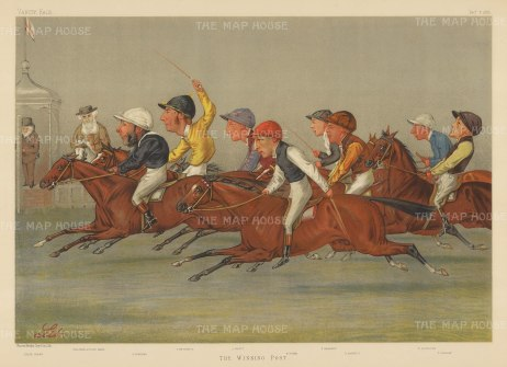 Winning Post: Jockeys John Osborne, Tom Cannon, John Watts, Fred Webb, Fred Barrett, George Barrett, William Robinson and Fred Rickaby with Sir Astley and Judge Clark in the background. By the racing caricaturist LIB (Liberio Prosperi).