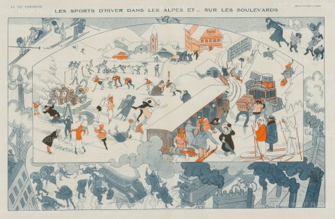 Skiing: Caricature of Winter sports on the Alps and the boulevards of Paris.