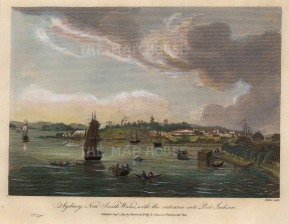 Port Jackson: Panorama of the entrance after Charles Leseur, artist on Baudin and Perron's Australia expedition 1801-3.