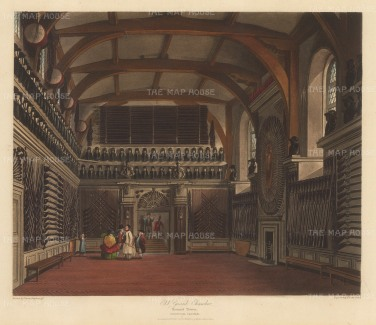 Old Guard Chamber in Round Tower: Interior view with figures.