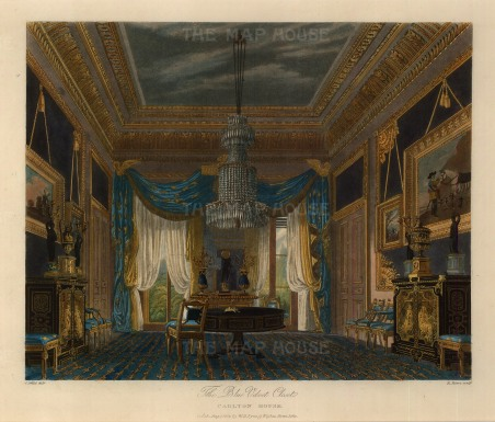 The Blue Velvet Closet recently renovated and hung with paintings from George IV's collection. At centre one of a pair of Boulle marquetry tables by Thomas Parker.