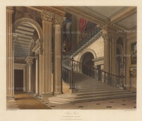 The Staircase. One of the principal features of the original house, it was altered to this 'imperial' stair in 1795 by James Wyatt.