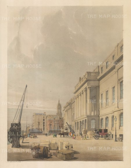 Custom House: Showing cargo awaiting shipping with the spire of St Magnus in the background. An erased signature is visible lower left hand corner.