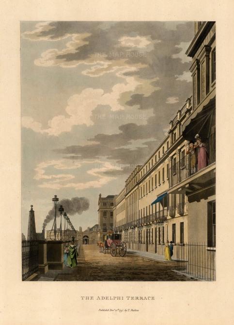 """Malton: Adelphi Terrace. 1792. A hand coloured original antique aquatint. 14"""" x 11"""". [LDNp2986]"""