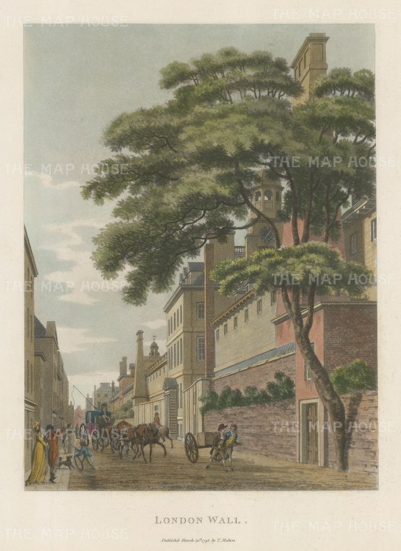 "Malton: London Wall. 1792. A hand coloured original antique aquatint. 11"" x 14"". [LDNp3007]"